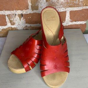 DANSKO Tilly Clog Sandals in Crimson Red